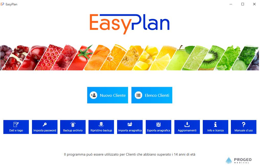 Progeo | EasyPlan - software per elaborazione di diete di base per una sana e varia alimentazione - Schermata